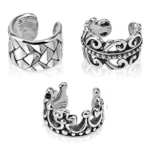 (3pcs Vintage Stainless Steel Clip On Non Piercing Ear Cuff )