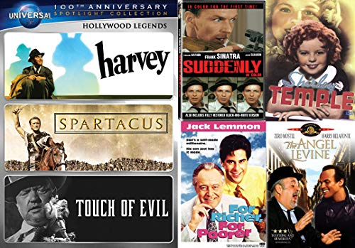 The Genre Hollywood Classic Bundle of Music, Dance, Comedy, Action and Drama - Suddenly, The Little Princess, The Angel Levine, For Richer, For Poorer, Harvey, Spartacus, & Touch of Evil DVD Set