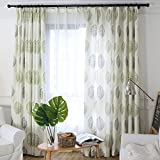 Green Leaf Curtain for Bedroom – 1 Panel Off White Blackout Lined Curtain Grommet Top Drape 42×84 Inch
