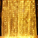 String lights Window Curtain, 300 LED Icicle Fairy Lights, Twinkle Starry Star Lights-UL Listed for Indoor and Outdoor,  Wedding, Christmas, Holiday, Home Bedroom Wall Decoration, Party (9.8ft x 9.8ft, Warm white), Low voltage, transformer included. ...