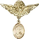Gold Filled Baby Badge with St. Raphael the Archangel Charm and Angel w/Wings Badge Pin 1 1/8 X 1 1/8 inches
