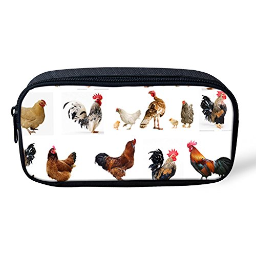 Showcool School Students Pencil Case Holder Cool 3D Rooster Hen Chicken White Pattern Supplies Pen Bag Pouch Polyester cute for School Teens boys girls -