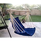 Busen Hanging Patio Chair Hammock Swing Outdoor Porch Tree Rope Seat Yard Hanging Rope Chair Porch Swing Lounge Camp Seat (Blue)