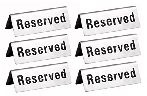 Reserved Table Signs 4.75x1.75 - 6 Pack for $<!--$17.00-->