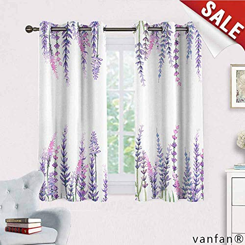 Big datastore Purple Decor Collection Curtain Blackout Liner,Lavender Plants Aromatic Evergreen Shrub of The Mint Family Nature Oils Country Style Print Blackout Printed for Kitchen,Lilac W55 x L45