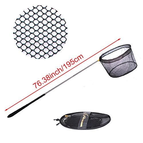 Net Extra Long Handle - Fishing Net Safe Catch and Release Fish Landing Net-Foldable,Telescoping,Durable,Comfortable Non-slip rubber Handle (Extends 28.35to76.38in Long )