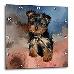 3dRose dpp_3868_3 Toy Yorkie Puppy Wall Clock, 15 by 15-Inch