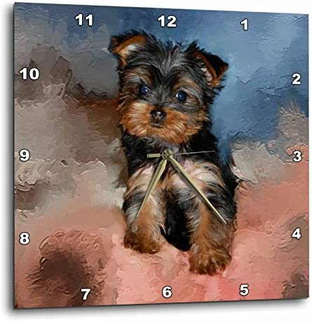 3dRose DPP_3868_2 Toy Yorkie Puppy-Wall Clock, 13 by 13-Inch