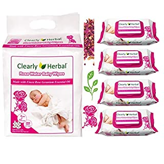 Clearly Herbal Rose Water Plant Based Gentle Baby Plant Based Wipes (72 Count X 4 packs = 288 wipes )