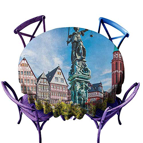 Round Outdoor Tablecloth,European Old City of Frankfurt Germany with Historical Buildings Statue Cityscape Scenery,Party Decorations Table Cover Cloth,67 INCH Multicolor -