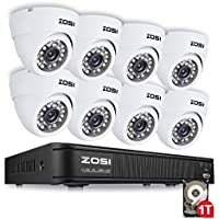 ZOSI AHD CCTV Kit ,8CH AHD DVR Recorder with 8 PCS 1280TVL (720P) Dome Indoor 65FT Night Vision Security Cameras