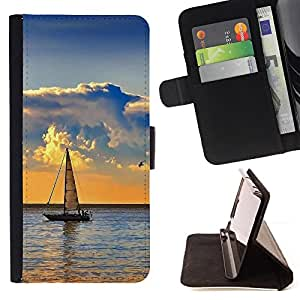 DEVIL CASE - FOR HTC DESIRE 816 - Nature Sailboat Sea - Style PU Leather Case Wallet Flip Stand Flap Closure Cover