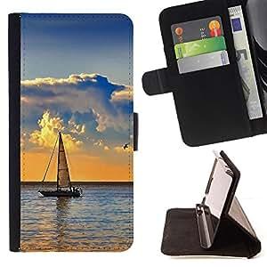- Nature Sailboat Sea - - Prima caja de la PU billetera de cuero con ranuras para tarjetas, efectivo desmontable correa para l Funny HouseFOR Samsung Galaxy A3