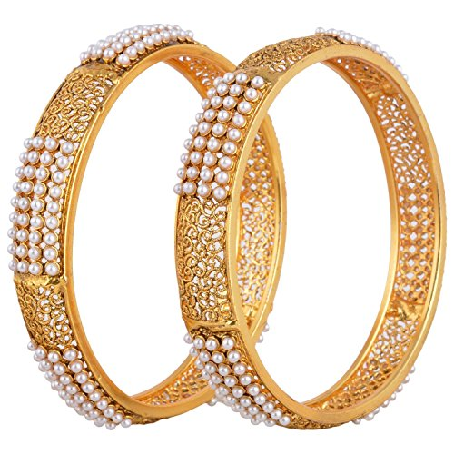 YouBella Designer Gold Plated Jewellery Pearl Studded Bangles for Women and Girls