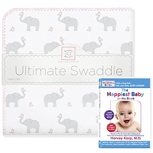 SwaddleDesigns Ultimate Swaddle Blanket, Made in USA, Premium Cotton Flannel, and The Happiest Baby DVD Bundle, Elephant and Pastel Pink Chickies Count Flannel Receiving Blankets