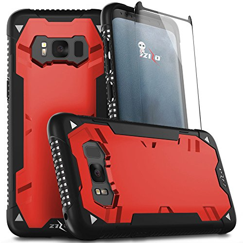 Zizo Proton 2.0 Series Compatible with Samsung Galaxy S8 Plus Case Military Grade Drop Tested with Tempered Glass Screen Protector Black RED