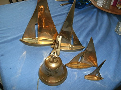 Vintage Set of 4 Brass Sailboats and Titanic Wall Bell