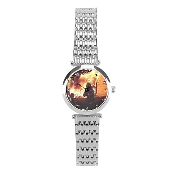 winlighting EMT amarillo camión de bomberos de las mujeres mejores relojes de acero inoxidable plata: Amazon.es: Relojes