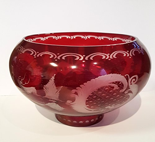 Cut Bowls Antique Glass - Bowl Antique Round Hand Cut Bohemian Glass Bowl Shell Ruby Red Mouth Blown Original Egermann Crystal Glass Table Decoration Height Approx15 Cm Diameter Aprrox. 25 Cm Oberstdorfer Glashütte