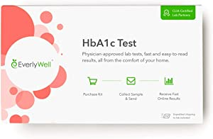 Everlywell HbA1c Test - at Home - CLIA-Certified Hemoglobin A1c Adult Test - Accurate Blood Analysis Measures Your A1c Blood Sugar Levels - Not Available in NY, NJ, RI