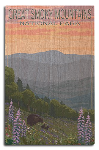 (Lantern Press Great Smoky Mountains National Park - Bear and Spring Flowers (10x15 Wood Wall Sign, Wall Decor Ready to)