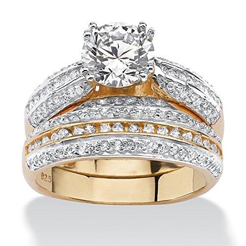 Palm Beach Jewelry Lot d'alliances - argent sterling sur plaqué or 18 ct (750) - zircone cubique 2,55 carats