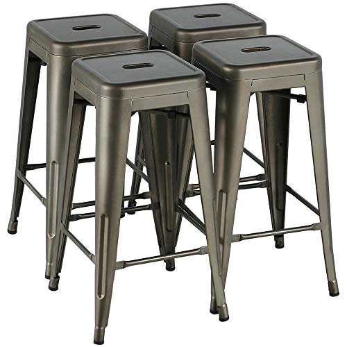 Yaheetech 30 Inches Metal Bar Stools High Backless Stools Bar Height Stools Patio Furniture Indoor/Outdoor Stackable Kitchen Stools Dining Chair Set of 4 (Stackable Stool Bar)