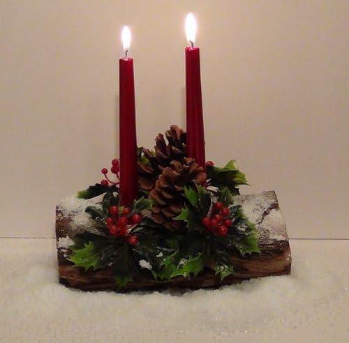 Centro de mesa de mimbre de madera de Navidad con velas 2 vela ...