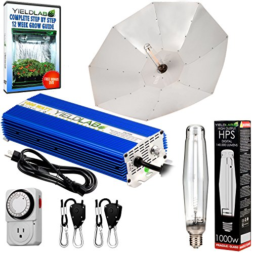 Yield Lab Horticulture 1000w HPS Grow Light Umbrella Reflector Kit Easy Setup Full Spectrum System For Indoor Plants And Hydroponics - Free Timer and 12 Week Grow Guide DVD