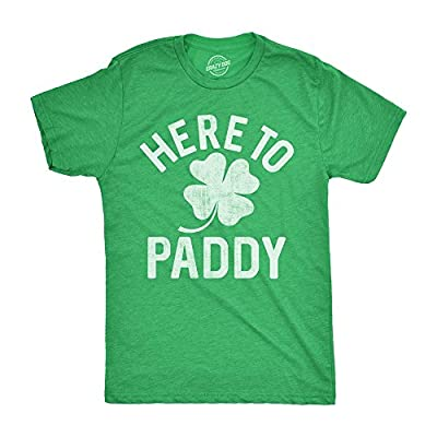 Mens Here to Paddy T Shirt Funny Saint Patricks Day for Leaf Clover Irish Tee