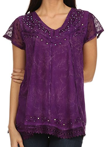 Sakkas 15774 - Hope Embroidery and Seqiun Accents Summer Blouse - Purple - OS