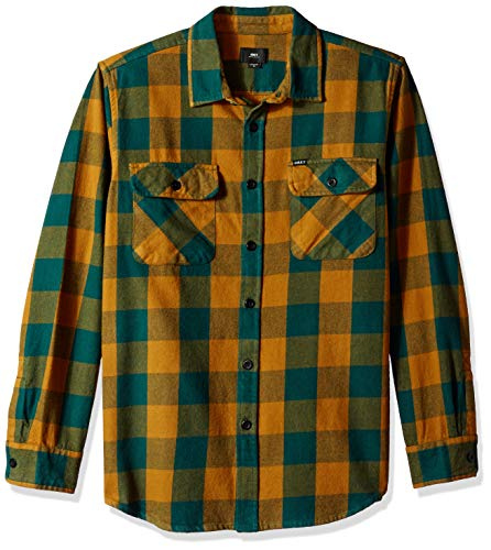 Obey Men's Vedder Flannel Woven Shirt, Dark Teal Multi Medium