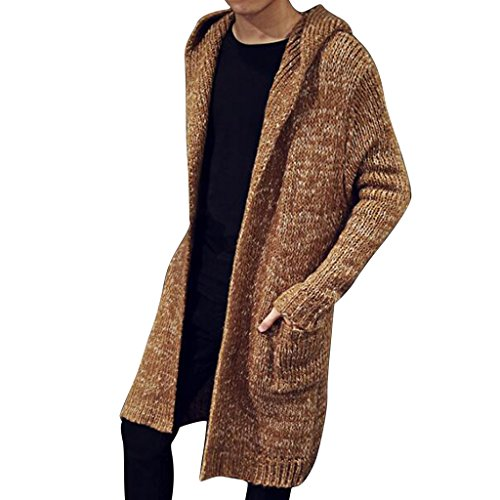 Stunner Men's Spring Slim With Hood Sweater Casual Long Cardigan CN XL Khaki