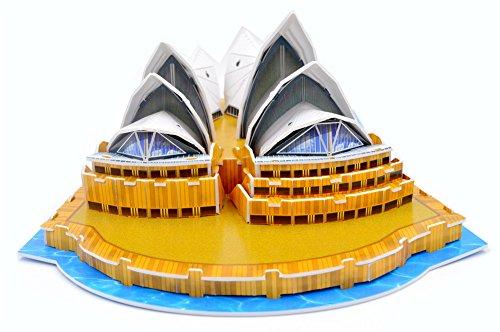 Queenie Colorful World Famous Architecture Mini Australia Sydney Opera House Building Paper Models DIY 3D Puzzles Children Kids Educational Toys Jigsaw Puzzles Kits, 58 Pieces