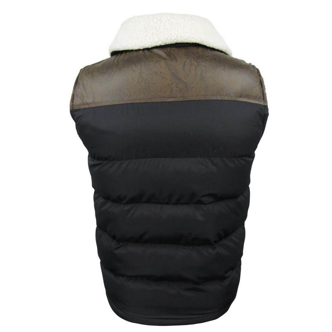 Fieldfox Mens Gilet Decker Body Warmer Sleeveless Coat Jacket Padded New Sherpa Collared