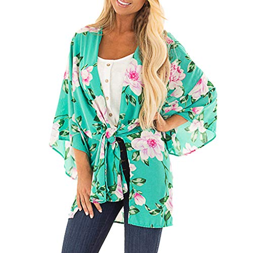 Price comparison product image Women Beach Top Chiffon Floral Print Green Cover Up Kimono Cardigan Tootu