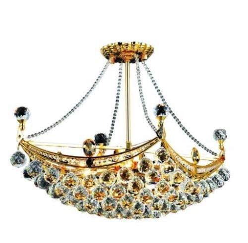 Taillefer Gold Modern 6-Light Hanging Chandelier Heirloom Grandcut Crystal in Crystal (Clear)-8330D24G-EC--14