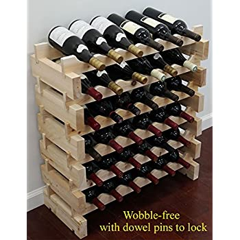 Displaygifts 36 Bottle Capacity Stackable Storage Wine Rack Wobble Free Thicker Wood Wn36