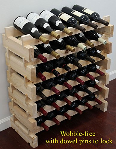 Stackable Storage Wine Rack Stand, Wobble-Free, (36 Bottle Capacity, 6 X 6 (Stackable Wood Wine Racks)