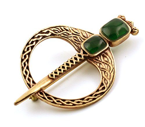 LynnAround Bronze Green Agate Celtic Knot Tara Brooch and Pins Norse Vintage Thailand Made Jewelry (Brooch (Knot Brooch Pin)
