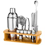 25 Piece Cocktail Shaker Set with Bamboo