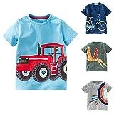 Napoo-baby outfits Kids Boys Girls Clothes Short Sleeve Cartoon Car Print Tops T-Shirt