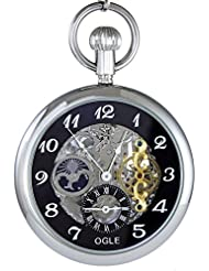 Ogle 3ATM Waterproof Large Size Vintage Stainless Steel Moon Phase Double Time Fob Self Winding Automatic Skeleton...