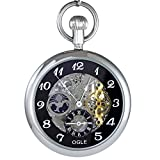 Ogle 3ATM Waterproof Large Size Vintage Stainless Steel Black Moon Phase Double Time Fob Self Winding Automatic Skeleton Mechanical Pocket Watch Chain Box