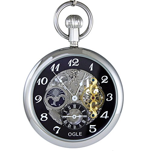 Ogle 3ATM Waterproof Large Size Vintage Stainless Steel Moon Phase Double Time Fob Self Winding Automatic Skeleton Mechanical Pocket Watch Chain Box (Silver Black) (Silver Steel Pocket Stainless Watch)