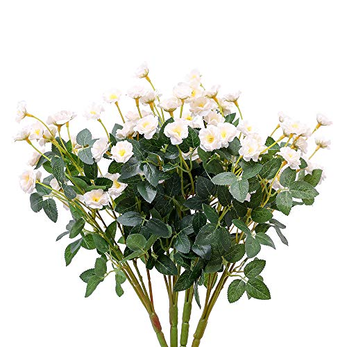 Nubry 4pcs Artificial Wildflowers Lifelike Fake Mini Rose Flower for Home Wedding Garden Party ()