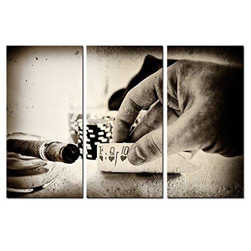 Vintage Conceptual Poker Hand Picture Canvas Art,Retro Photos