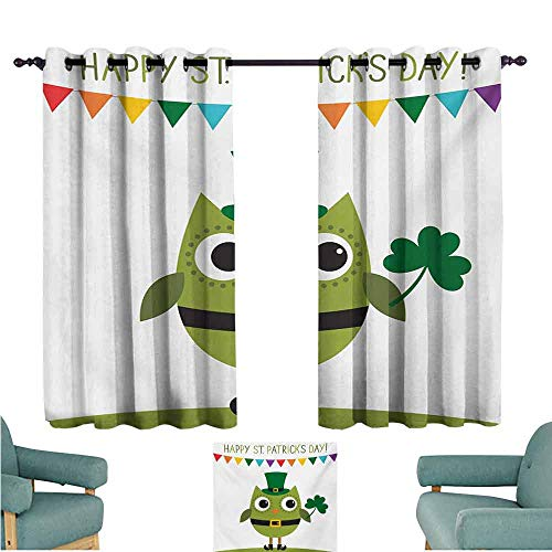 DONEECKL Windshield Curtain St. Patricks Day Owl with Leprechaun Costume Greeting Design for Party Shamrock Pattern Blackout Draperies for Bedroom Living Room W63 xL45 Multicolor -