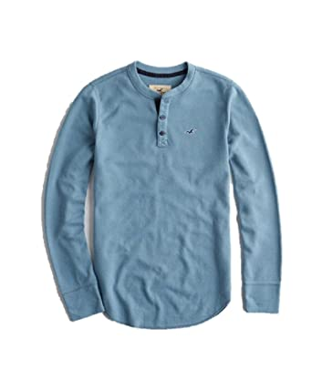 f0ec9708284e Hollister New Thermal Waffle Blue Men TOP Henley T-Shirt Long Sleeve  Stretch Men Blue SZ M: Amazon.co.uk: Clothing