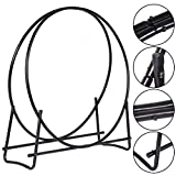 MasterPanel - 40-Inch Tubular Steel Log Hoop Firewood Storage Rack Holder Round Display #TP3284